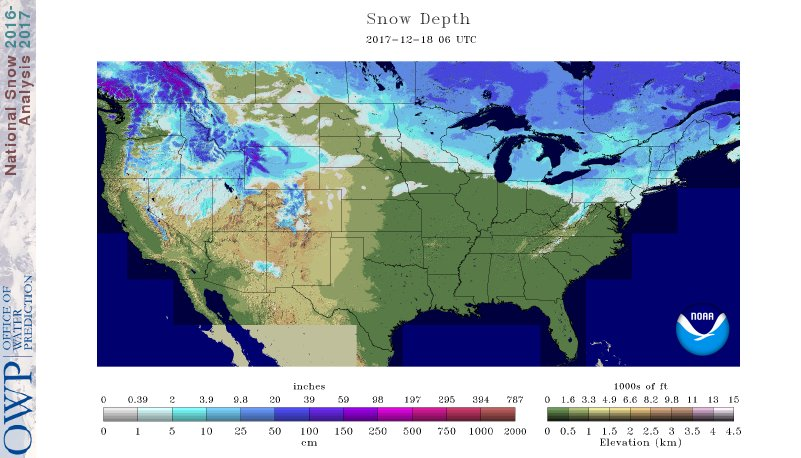 National Snow Analyses NOHRSC The Ultimate Source For Snow - Us map snow cover